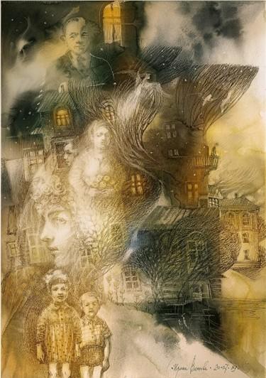 Painting, ink, artwork by Irene Vlassova