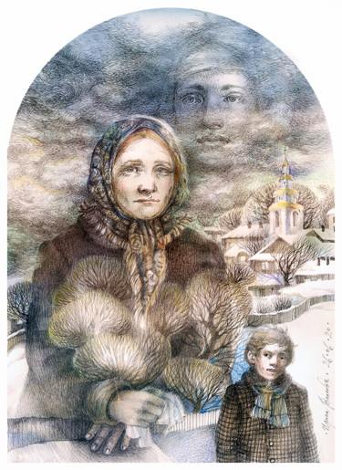 Drawing, ink, artwork by Irene Vlassova